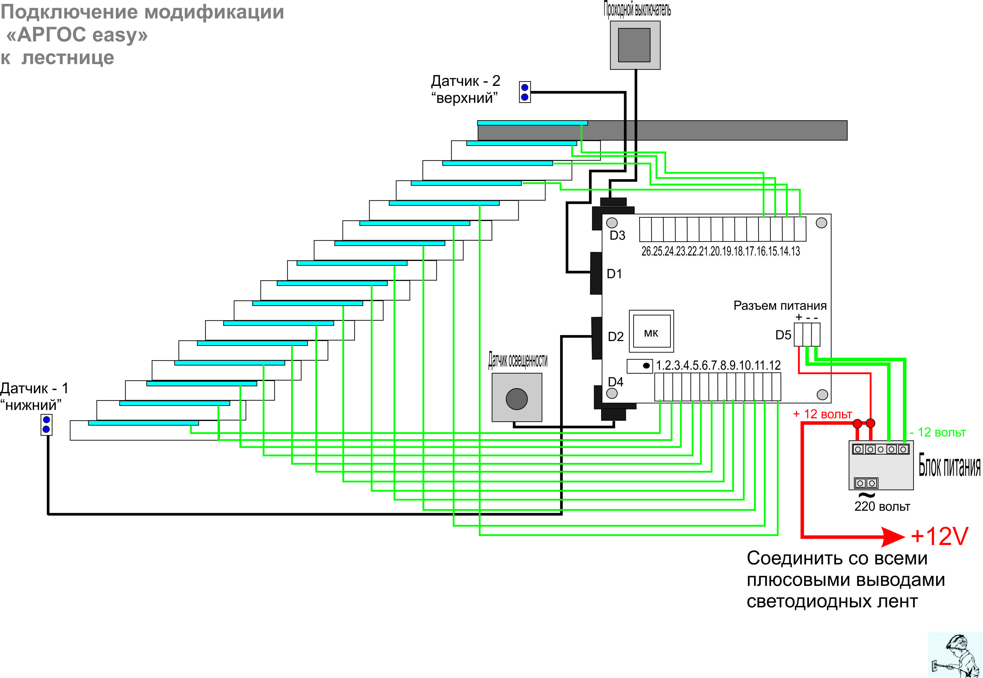 Схема подсветка лестницы светодиодной лентой своими руками